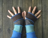 Arm Warmers, Upcycled Clothing, Recycled Clothing, Fingerless Gloves, Writers Gloves