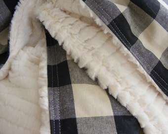 crib blanket, baby blanket, buffalo check,crib bedding, baby bedding, cream black, woodland, nursery bedding
