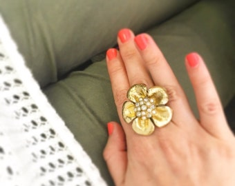 Gold Flower Ring Statement Cocktail Pearl Cluster Adjustable Wedding Jewelry Bridesmaid Gift