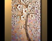 Large Art ORIGINAL Textured Landscape Abstract Tree Painting Gold Flower Cherry Blossom Modern Palette Knife Wall Decor Canvas Nizamas 48x24