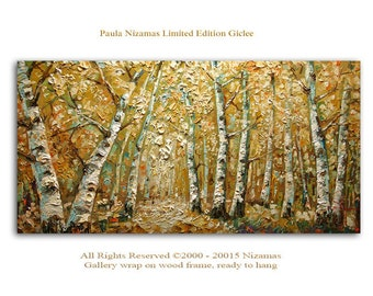 Birch Forest -  Abstract Art Giclee Print on canvas Home wall Decor Ready to hang toned down colors