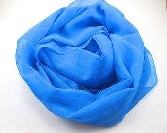 Turquoise Silk Gauze Fabric. Cerulean Nuno Felt Scarf Remnant. Azure Silk Gauze Yardage