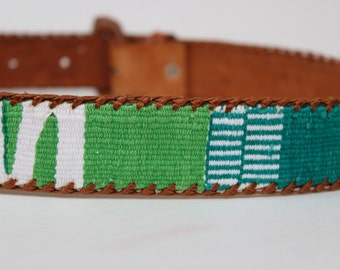 "Vintage Woven Green Leather Belt - South America Embroidery -Retro Brown Genuine leather Waist Belt -Accessories Belts -Medium 29""-34"" waist"