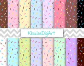 Donut Sprinkles Digital Paper, Doughnut Confetti Scrapbook Paper, Floral- Personal and Small Commercial Use (0037)