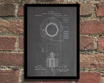 Tesla Transformer Patent Print Steampunk Art Poster