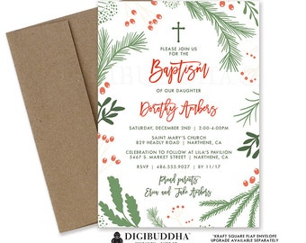 CHRISTMAS BAPTISM INVITATION Holiday Christening Invite Winter Baptism Red Green Floral Baptism Invitation Religious Celebration - Dorothy