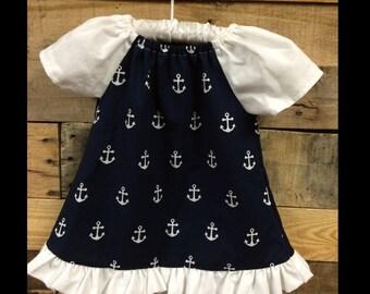 Navy and White Anchor Baby Dress, Toddler Dress, Sundress, little Girl Dress