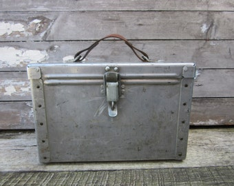 Vintage Home Decor Storage Handmade Aluminum Lock Box Ammunition Storage Style Metal Hand Made Riveted Hinged Metal Storage Bin Industrial