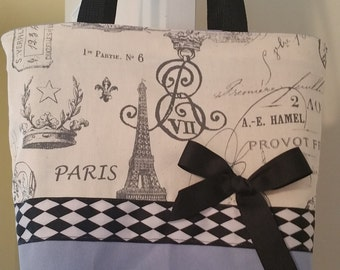 Black French Scroll Paris Eiffel Tower Purse Shabby Argyle Purse Tote BAG or Diaperbag