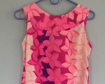 Vintage 60's 70's Maluna Hawaii -  Hibiscus Maxi Aloha Dress SM