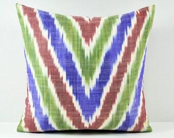 Ikat Pillow, Hand Woven Ikat Pillow Cover,  SPE-111, Ikat throw pillows, Designer pillows, Decorative pillows, Accent pillows