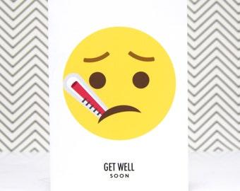 Get Well Soon Card – Emoji Get Well Soon – Funny Get Well Card – Get Well Emoticon Card – Get Well Soon Greetings Card – Card Sick Friend