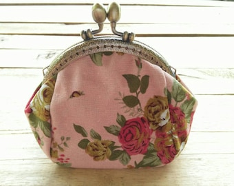 Flower Printing Women Coin Purse / Lady Purse / Retro Vintage Coin Wallet / Lady Money Bag Wallet