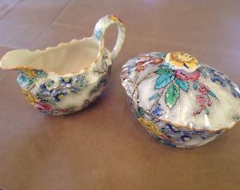 Copeland Spode Creamer and Sugar Set, Patricia pattern, Excellent Condition