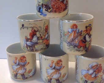 Set 6 Vintage Czech Mugs w Hand Painted Children Scenes, Made in Czechoslovakia