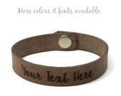 Engraved Bracelet, Personalized Gifts, Custom Leather Bracelet, Laser Engraved Bracelet, Couples Gifts, Choose Your Text, Gifts Under 15