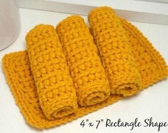 Crochet Dishcloths, Reusable Cotton Dishcloths, Hand Crochet Dishcloths, Set of 4 American Cotton, Eco Friendly Kitchen, Mustard Yellow
