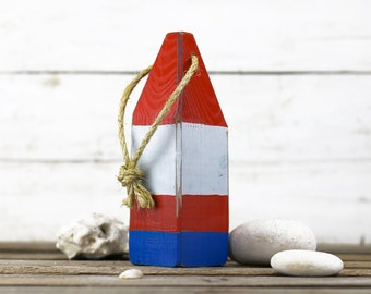 """Beach Decor, 11"""" Old-style lobster float buoy, Red, White, Blue, Vintage Style, Nautical, by SEASTYLE"""