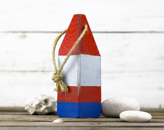 "Beach Decor, 11"" Old-style lobster float buoy, Red, White, Blue, Vintage Style, Nautical, by SEASTYLE"