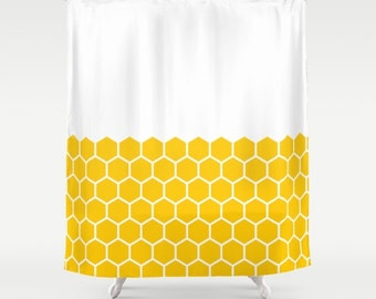 36 colours, Hexagon Honeycomb Half Pattern Shower Curtain, minimalist geometric bathroom shower curtains, Crocus yellow, white background
