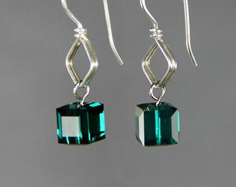 Sterling silver birthstone cube Swarovski crystal drop earrings Free US Shipping handmade Anni Designs