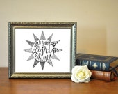 Hand Lettered Let Your Light Shine Matthew 5:16 Print Instant Download Printable 5x7 8x10 11x14