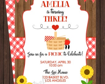 Sweet Picnic Birthday Invite