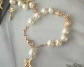 First communion Girl Bracelet, pearl bracelet favors, religious favors bracelets, Bracelet Rosary Baptism Favors,wedding favors Narelo
