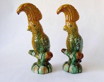 Pair of Vintage Cockatoos, Majolica