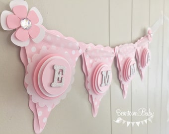 Pink Baby Banner, Pink Baby Shower Banner, Custom Baby Shower Banner, Custom Banner, Personalized Banner, Baby Banner - Made to Order