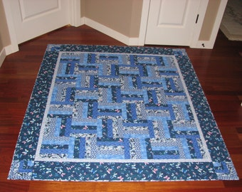 Rail Fence Quilt in Blue Fabrics