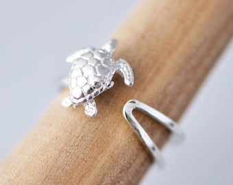 Sea Turtle Cuff Ring, Sterling Silver Cuff Ring, Nautical Jewelry, Sea Turtle Jewelry, Silver Sea Turtle, Turtle Ring, Gift For Her