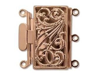 3 Strand 13X22mm Box Clasp Copper Plate Over Base Metal Push Pull Clasp Three Strand Rectangle Clasp Multi Strand Clasp