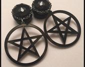 PICK SIZE Black Pentagram Pentacle l  Acrylic Laser Cut dangle plug ear gauges Plugs