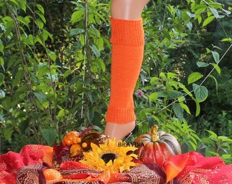 Orange Child Leg Warmers Child 13 inches