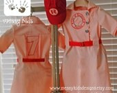 Made & Ready to SHIP Light Peach Size 4t Embroidered Vintage Inspired Basball Dress, Hat and Belt by Messy Kids Designs