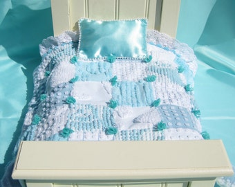 """Turquoise Doll Quilt Chenille Patchwork Quilt Chenille Quilt for 14"""" Doll Turquoise Doll Blanket Small Doll Quilt Car Seat Blanket Lovey"""