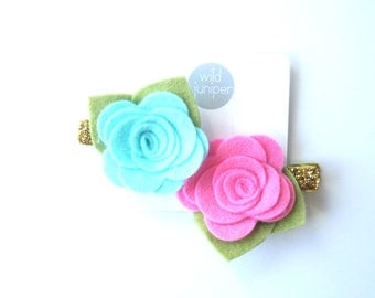 Baby Flower Clips - Pink and Blue Flower Clips