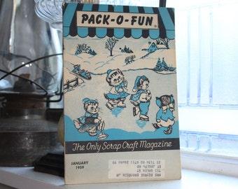 Vintage 1950s Pack-O-Fun Crafts Book Scrap Craft Magazine January 1959