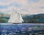 Watercolor ORIGINAL - The Canvas Can Do Miracles- sailing, boat, sailboat, Adventuress, Bellingham, sea, ocean, Washington, Puget Sound