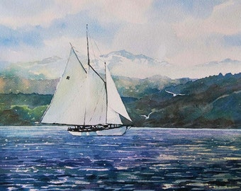 Watercolor ORIGINAL - The Canvas Can Do Miracles- sailing, boat, sailboat, Adventuress, Bellingham, sea, ocean, Washington, Puget Sound