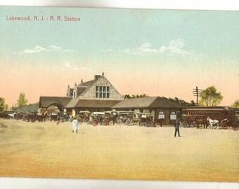 Vintage Postcard, Lakewood, New Jersey, Railroad Station, ca 1910