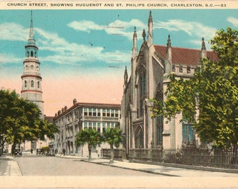 Linen Postcard, Charleston, South Carolina, Church Street, Huguenot and St Philips Churches,1932