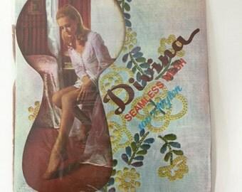 60's Seamless Mesh Nylon Stockings Thigh High Garter Sheer Divina Taupe Size 10