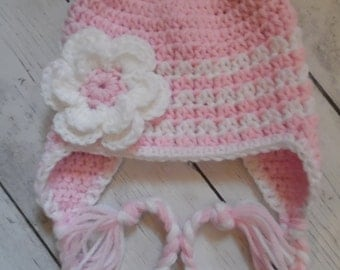 Crochet Baby Girl Hat, Baby Girl Hat in PInk an White, Newborn Hat - Made To Order