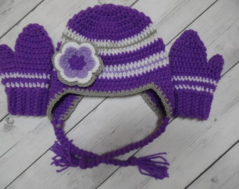 Toddler Purple Hat with Matching Gloves, Purple Hat and Mittens, Baby Girl Hat - Made to order