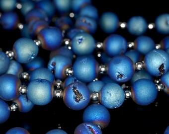 10MM Titanium Blue Agate Druzy Gemstone Grade AA Round Loose Beads 6 Bedas (90190918-B55)