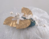 Fascinator Sparkly white flowered fascinator with gold leaves and silver veil OOAK