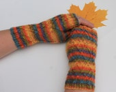 Knit Fingerless Colorful Wool Mitts, Hand Knit Women Mittens, Hand Knit Autumn Mittens