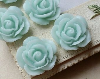 19 mm Mint Green  Color Rose Resin Flower Cabochons (.am)